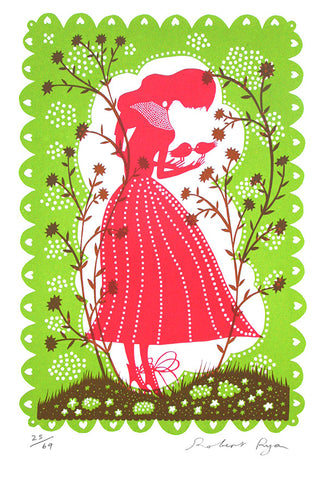 'Bird Lady' Screenprint (green/pink)