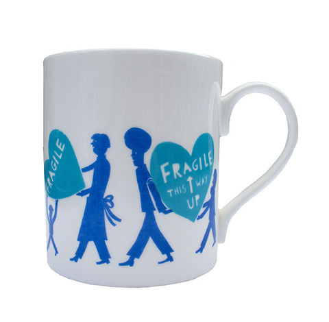 'Fragile'  Bright Blue and Blue Ceramic Mug