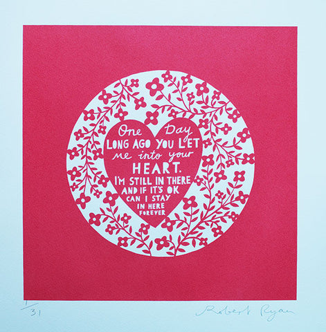 'One Day...' Screenprint in soft red