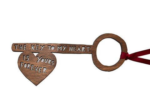 'The Key To My Heart Is Yours Forever' Lasercut Key