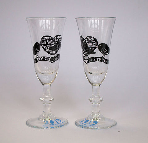 'What A Year It's Been!'  Xmas 2019. Pair Of Sherry/Liqueur Glasses