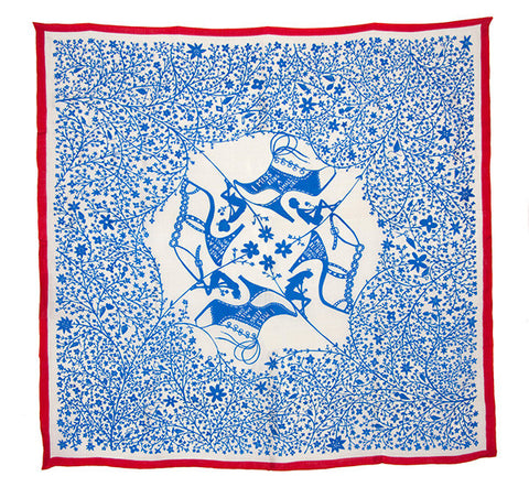'I Miss Being A Small Girl Silk Scarf' (Blue With Red Trim)
