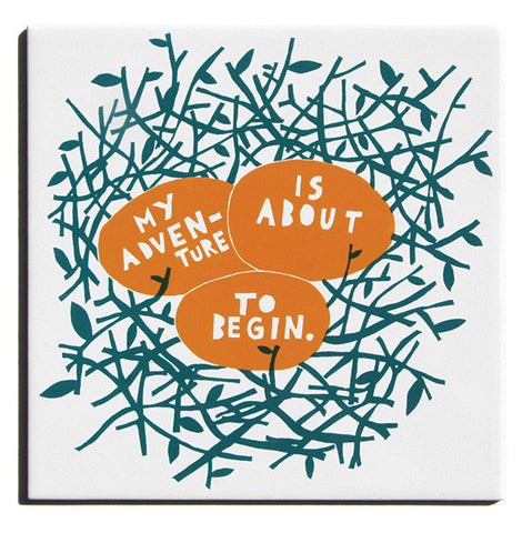 'My Adventure' Orange and Teal Ceramic Tile