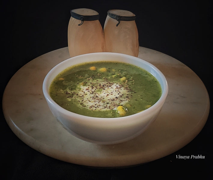 Palak/ Spinach and corn soup