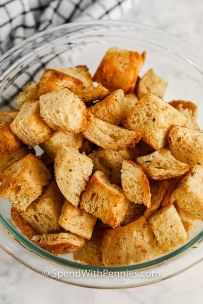 Whenever there's leftover or stale bread, just repurpose it into crispy, crunchy, savory croutons!