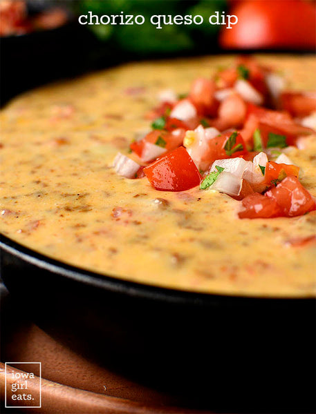 Chorizo Queso Dip is made from just three ingredients! This creamy, cheesy, gluten free dip recipe will be the hit of your next tailgate party
