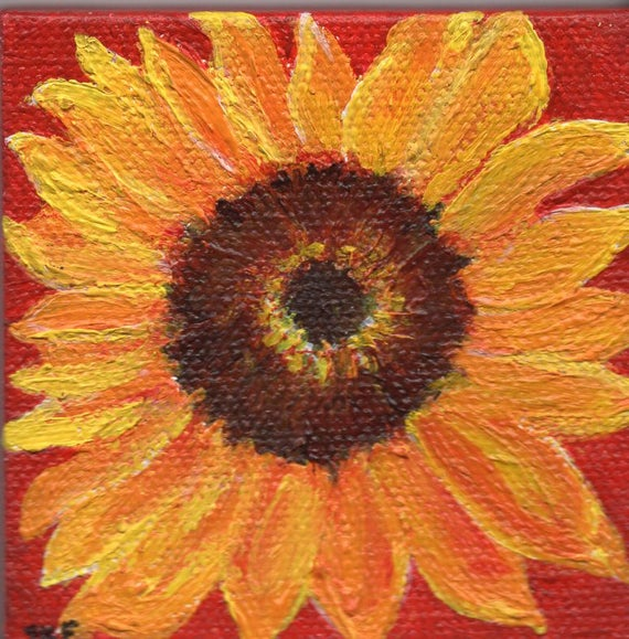 Sunflower small painting, sunflower mini canvas art, sunflower decor, Mini Easel Sunflower original acrylic painting by SharonFosterArt