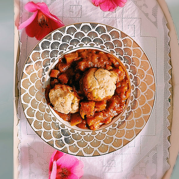 The Tastiest *EASY PEASY* Vegan & GF Vegetable Slow Cooker Stew with HERBY DUMPLINGS.