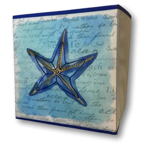 "Decorative Collapsible Storage Bin - Banberry Designs Nautical Beach Box - Blue Starfish Design - 11"" High(2059)"