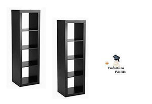 Officesaleman Better Homes and Gardens 4-Cube Organizer Storage Bookcase Bookshelf (Solid Black, 4-Cube, 2 Pack + Freebie)