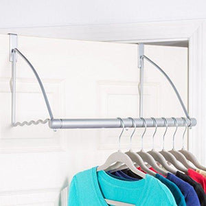 New hold n storage over the door closet valet over the door clothes organizer rack and door hanger for clothing or towel home and dorm room storage and organization