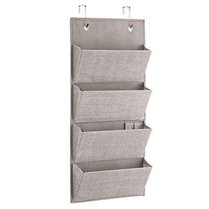 Buy idesign interdesign wall mount over door fabric closet storage clutch purses handbags scarves linen aldo hanging 4 pocket organizer