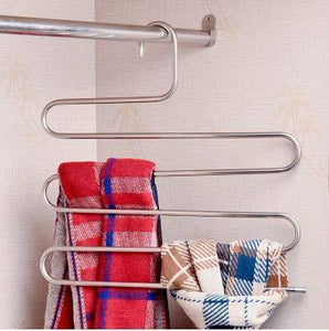 Budget lef 3 pack s type stainless steel hangers for space consolidation scarfs closet storage organizer for pants jeans ties belts towels