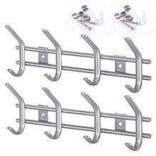 Load image into Gallery viewer, Home protasm wall mounted coat hooks stainless steel heavy duty wall hooks rail robe hook rack for bathroom kitchen entryway closet