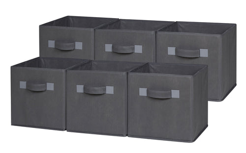 Foldable Cloth Storage Cube, Grey (4 or 6 pack)