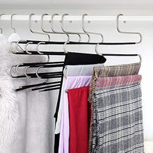 Load image into Gallery viewer, Order now ziidoo new s type pants hangers stainless steel closet hangers upgrade non slip design hangers closet space saver for jeans trousers scarf tie 6 piece