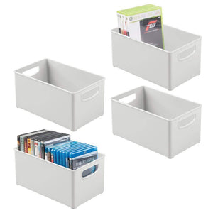 Storage mdesign plastic stackable home storage organizer container bin box with handles for media consoles closets cabinets holds dvds blu ray video games gaming accessories 4 pack light gray