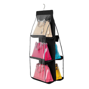 Try luck dawn hanging handbag purse organizer transparent dust proof wardrobe closet storage bag for clutch with 6 larger pockets black