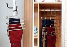 Load image into Gallery viewer, Related eco life sturdy s type multi purpose stainless steel magic pants hangers closet hangers space saver storage rack for hanging jeans scarf tie family economical storage 1 pce