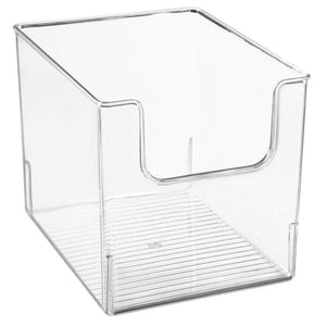 Organize with mdesign plastic open front bathroom storage organizer basket bin for cabinets shelves countertops bedroom kitchen laundry room closet garage 8 wide 4 pack clear