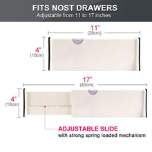 Load image into Gallery viewer, Exclusive drawer dividers organizer 5 pack adjustable separators 4 high expandable from 11 17 for bedroom bathroom closet clothing office kitchen storage strong secure hold foam ends locks in place