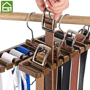 Purchase gano zen sturdy plastic tie belt scarf rack organizer closet wardrobe space saver belt hanger with metal hook