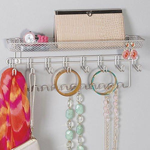 Buy now duvtail decorative metal closet wall mount jewelry accessory organizer for storage of necklaces bracelets rings earrings sunglasses wallets