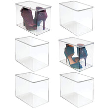 Load image into Gallery viewer, Try mdesign stackable closet plastic storage bin box with lid container for organizing mens and womens shoes booties pumps sandals wedges flats heels and accessories 9 high 6 pack clear