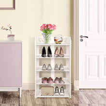Load image into Gallery viewer, Heavy duty ejoyous 5 tier shoes rack white wood plastic modern space saving display shoe tower free standing shoes storage organizer closet shelves holder container for home office support hold 10 pair