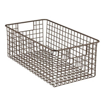 Load image into Gallery viewer, Try mdesign farmhouse decor metal wire bathroom organizer storage bin basket for cabinets shelves countertops bedroom kitchen laundry room closet garage 16 x 9 x 6 in 4 pack bronze