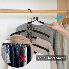Load image into Gallery viewer, Organize with pupouse multi layers clothes hangers 5 in 1 anti slip sponge metal clothes rack multifunctional closet hanger space saving organizer for jacket coat sweater skirt trousers shirt t shirt