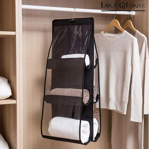 Budget friendly love in the house hanging handbag purse organizer household wardrobe closet organizer hanging storage bag 6 large storage pockets grey 36x14x14