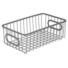 Load image into Gallery viewer, Amazon mdesign metal farmhouse kitchen pantry food storage organizer basket bin wire grid design for cabinet cupboard shelves countertop closet bedroom bathroom small wide 4 pack graphite gray