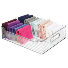 Load image into Gallery viewer, Save on mdesign plastic closet storage bin with handles divided organizer for shirts scarves bpa free 14 5 long 2 pack clear