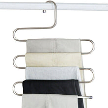 Load image into Gallery viewer, Explore peiosendor s type pants hangers multi purpose stainless steel magic closet hangers space saver storage rack for hanging jeans scarf tie family economical storage 3