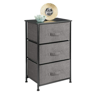 Discover the mdesign vertical dresser storage tower sturdy steel frame wood top easy pull fabric bins organizer unit for bedroom hallway entryway closets textured print 3 drawers charcoal gray black