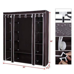 Buy amashion 69 5 tier portable clothes closet wardrobe storage organizer with non woven fabric quick and easy to assemble dark brown