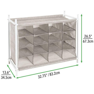 New mdesign soft fabric shoe rack holder organizer 16 cube storage shelf for closet entryway mudroom garage kids playroom metal frame easy assembly closet organization linen white