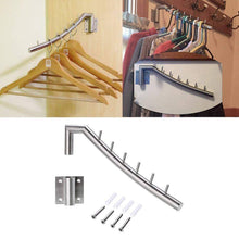 Load image into Gallery viewer, Exclusive wall mount clothing rack 2 pack stainless steel hanging drying clothes hanger with swing arm holder heavy duty laundry closet storage organizer rod space saver clothing for bedrooms bathrooms