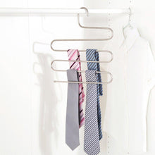 Load image into Gallery viewer, Shop here 4 pack s type hanger for clothing closet storage stainless steel pants hangers with 5 layers multi purpose loveyal limited space storage rack for trousers towels scarfs ties jeans 4
