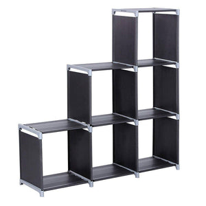 Top multifunctional assembled 3 tier 6 compartment storage cube closet organizer shelf 6 cubes bookcase storage black 6 cubes