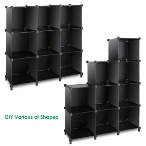Top tomcare cube storage 9 cube closet organizer shelves plastic storage cube organizer diy closet organizer storage cabinet modular book shelf shelving for bedroom living room office black