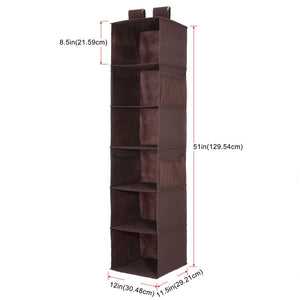 Great magicfly hanging closet organizer with 4 side pockets 6 shelf collapsible closet hanging shelf for sweater handbag storage easy mount hanging clothes storage box brown
