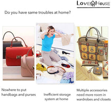 Load image into Gallery viewer, Buy now love in the house hanging handbag purse organizer household wardrobe closet organizer hanging storage bag 6 large storage pockets grey 36x14x14
