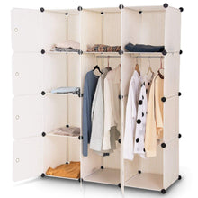 Load image into Gallery viewer, Products tangkula closet portable diy plastic stackable customizable bedroom dom dresser clothes closet wardrobe armoire organizing shelf cube storage with doors organizer closet 6 cubes 2 hanging sections