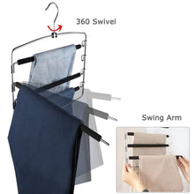 Load image into Gallery viewer, Select nice clothes pants hangers 2 pack sunblo multi layers space saving slack hangers non slip foam padded metal closet storage organizer for jeans trousers skirts scarf black