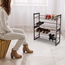 Load image into Gallery viewer, Discover the rackaphile 4 tier stackable metal shoe rack mesh utility shoe storage organizer shelf for closet bedroom entryway 32 3 28 9 12 bronze