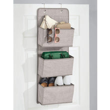 Load image into Gallery viewer, Shop here mdesign a568 soft fabric over the door hanging storage organizer with 3 large pockets for closets in bedrooms hallway entryway mudroom hooks included textured print 2 pack linen tan