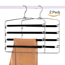 Load image into Gallery viewer, Results clothes pants hangers 2 pack sunblo multi layers space saving slack hangers non slip foam padded metal closet storage organizer for jeans trousers skirts scarf black