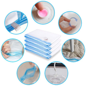 Best seller  mrs bag hanging vacuum storage bags 6 pack 3jumbo57x27 6 3short41 3x27 6 space saver bag dress cover with hook for coats jackets clothes closet storage hand pump included